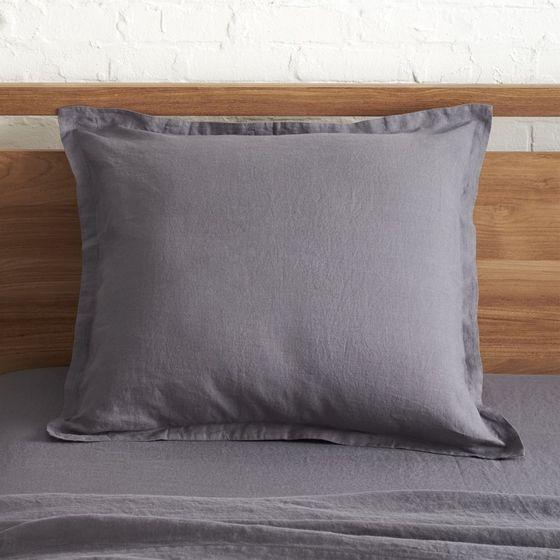 funda europea lino gris oscuro cratebarrelpe. Black Bedroom Furniture Sets. Home Design Ideas