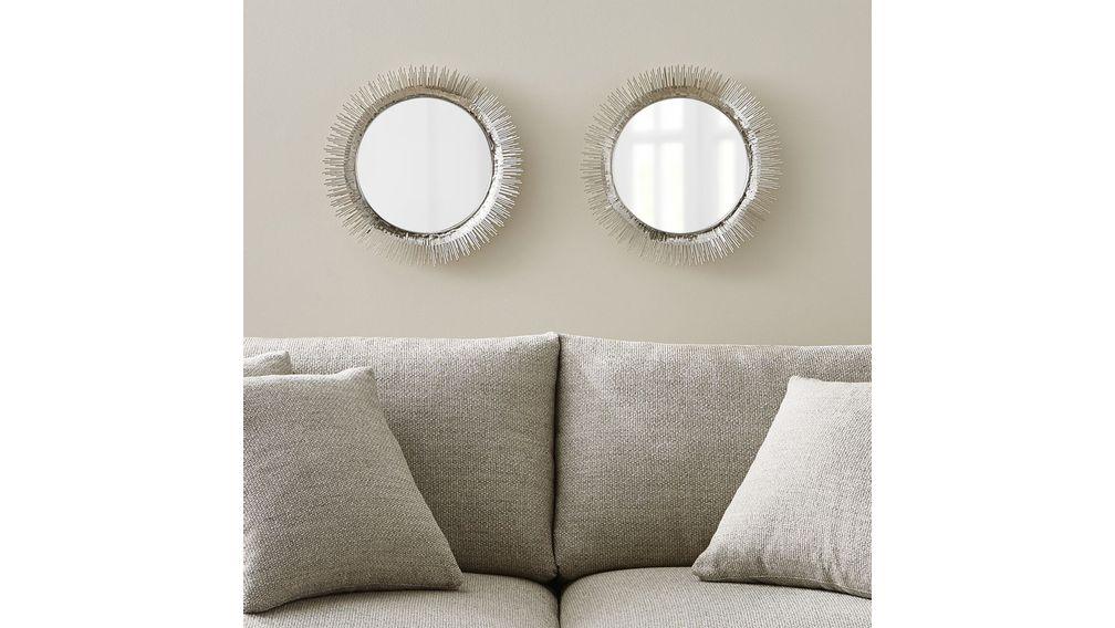 juego de 2 espejos de pared redondos clarendon pequeos plateados cratebarrelpe - Espejos Plateados