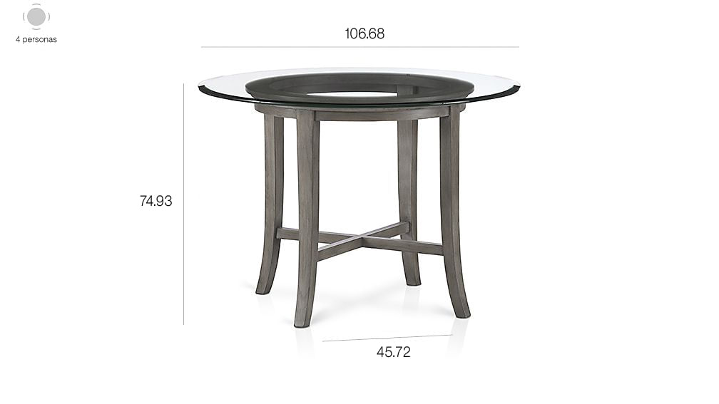 Mesa de Comedor Redonda con Vidrio Superior Gris de 107 cm Halo ...