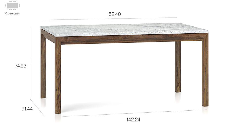 Mesa de Comedor con Base de Olmo y Tablero de Mármol de 152 x 91 cm ...